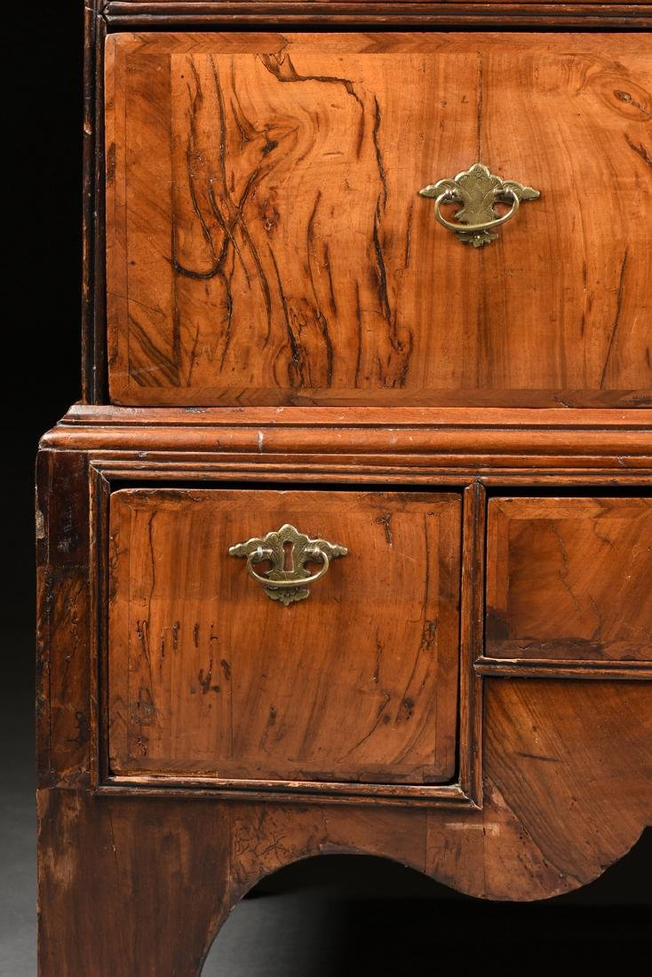 A QUEEN ANNE OAK AND BLACK WALNUT VENEERED CHEST ON - 5