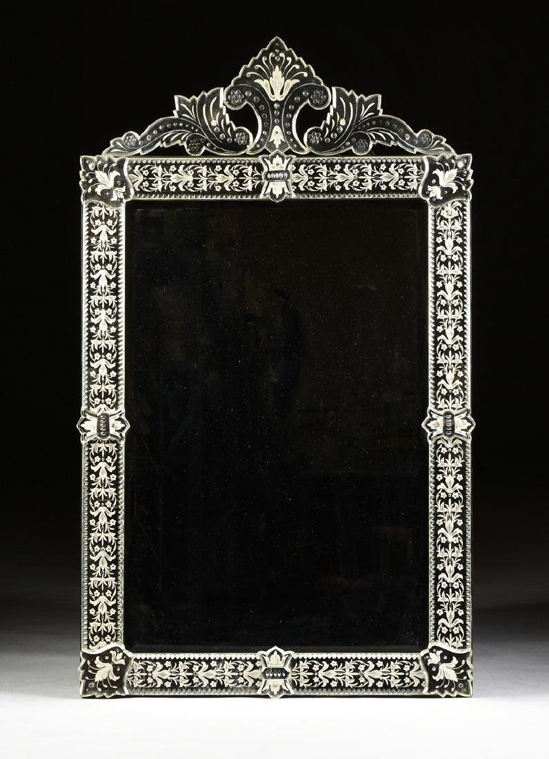 A BAROQUE VENETIAN STYLE ETCHED CUT GLASS MIRROR, LATE