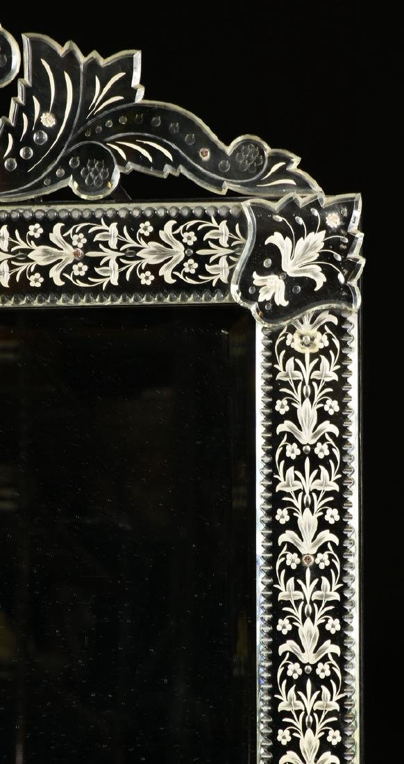 A BAROQUE VENETIAN STYLE ETCHED CUT GLASS MIRROR, LATE - 2