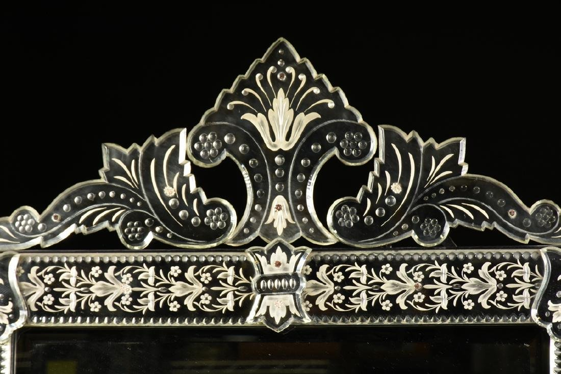 A BAROQUE VENETIAN STYLE ETCHED CUT GLASS MIRROR, LATE - 3