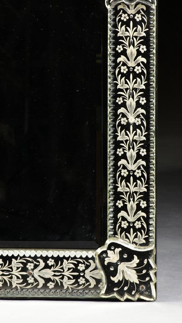 A BAROQUE VENETIAN STYLE ETCHED CUT GLASS MIRROR, LATE - 4