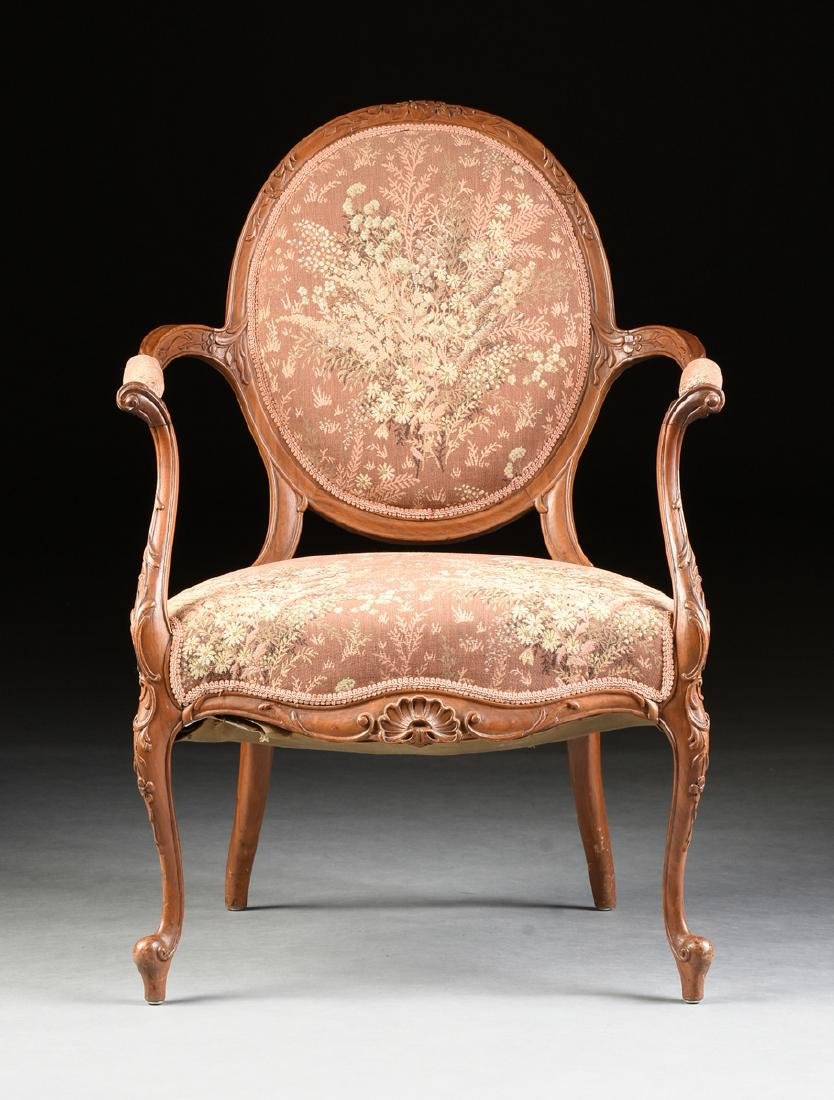 A PAIR OF TRANSITIONAL LOUIS XV/XVI STYLE CARVED WALNUT - 2