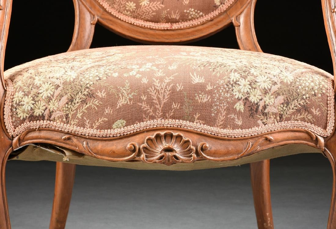 A PAIR OF TRANSITIONAL LOUIS XV/XVI STYLE CARVED WALNUT - 5