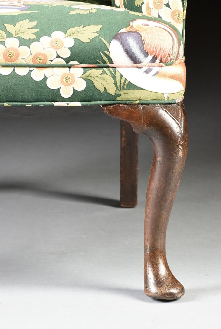 A GEORGE II CARVED BEECH WING BACK ARMCHAIR, ENGLISH, - 3