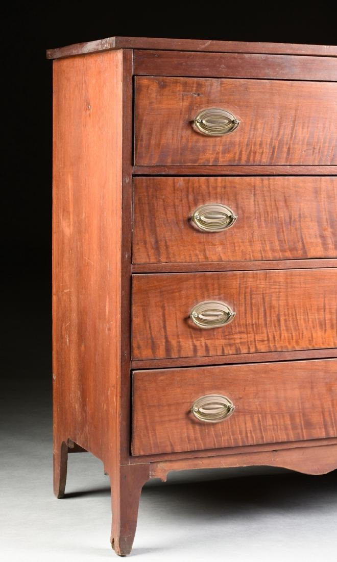 AN AMERICAN HEPPLEWHITE STYLE CURLY MAPLE CHEST OF - 6