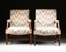 A MATCHED PAIR OF GEORGE III STYLE WALNUT AND BEECH