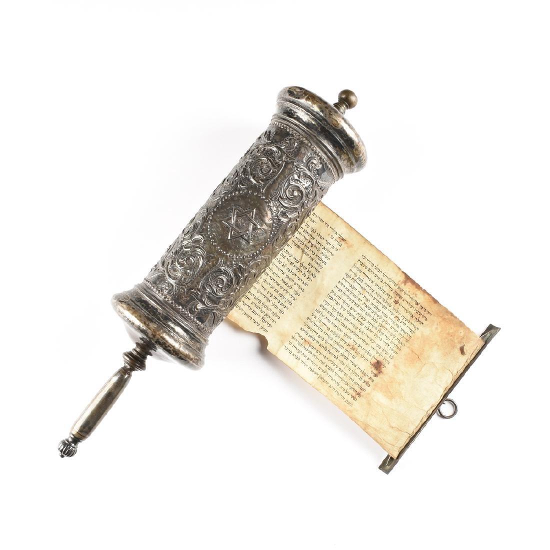A JUDAICA SILVER PLATE CASED VELLUM MEGILLAH SCROLL,
