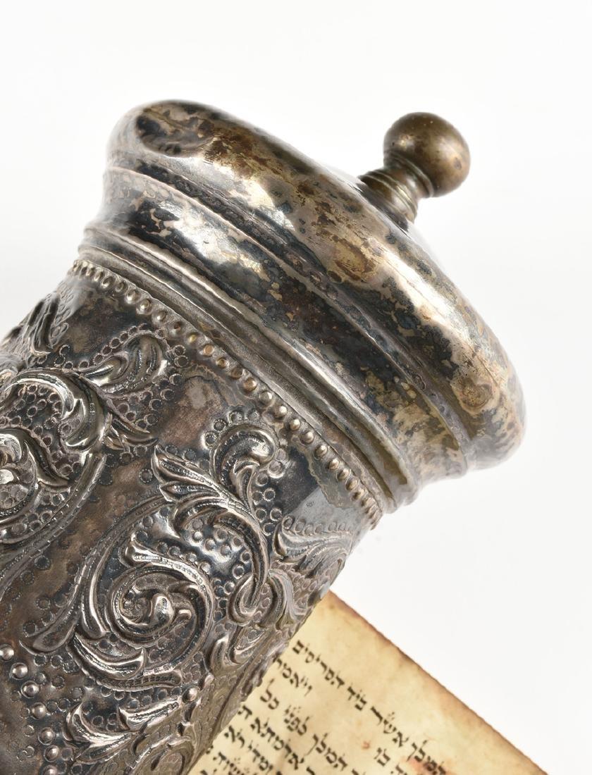 A JUDAICA SILVER PLATE CASED VELLUM MEGILLAH SCROLL, - 2