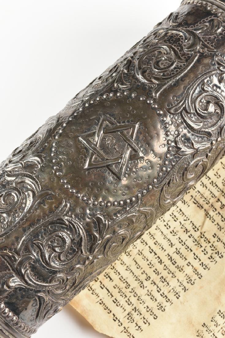 A JUDAICA SILVER PLATE CASED VELLUM MEGILLAH SCROLL, - 3