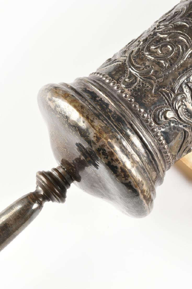 A JUDAICA SILVER PLATE CASED VELLUM MEGILLAH SCROLL, - 4