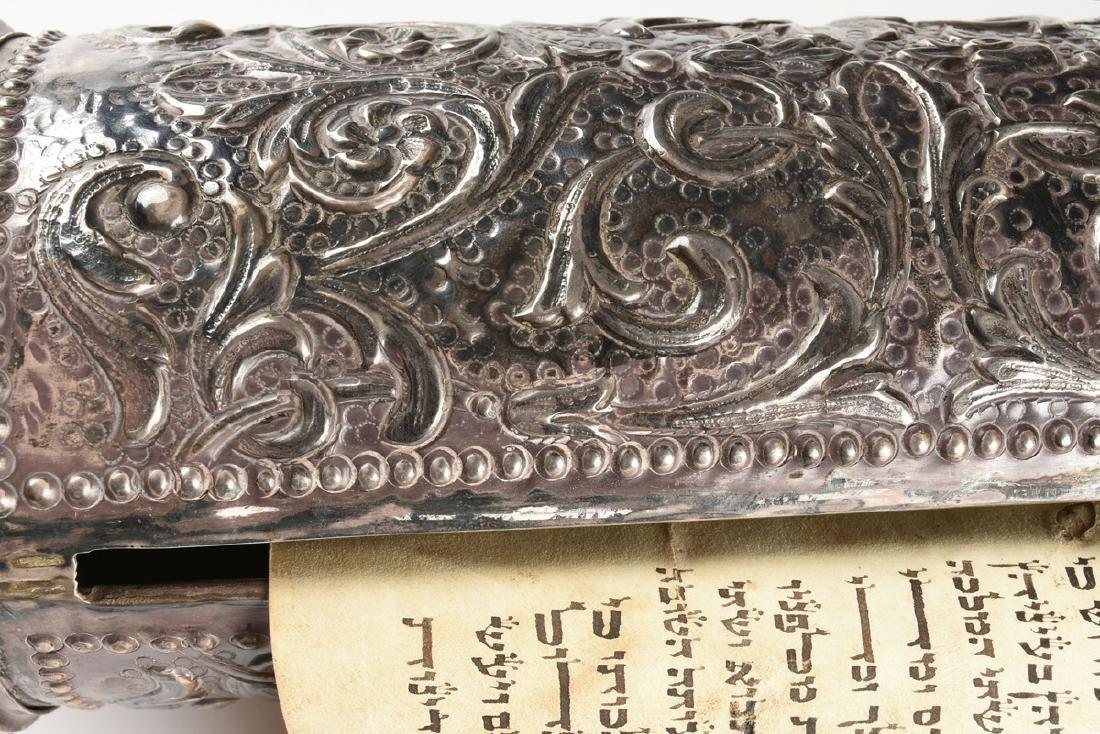 A JUDAICA SILVER PLATE CASED VELLUM MEGILLAH SCROLL, - 7