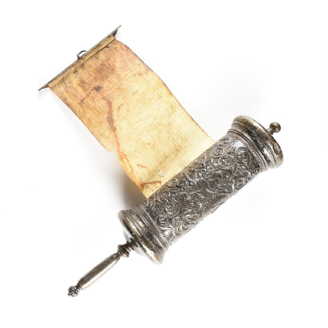 A JUDAICA SILVER PLATE CASED VELLUM MEGILLAH SCROLL, - 8