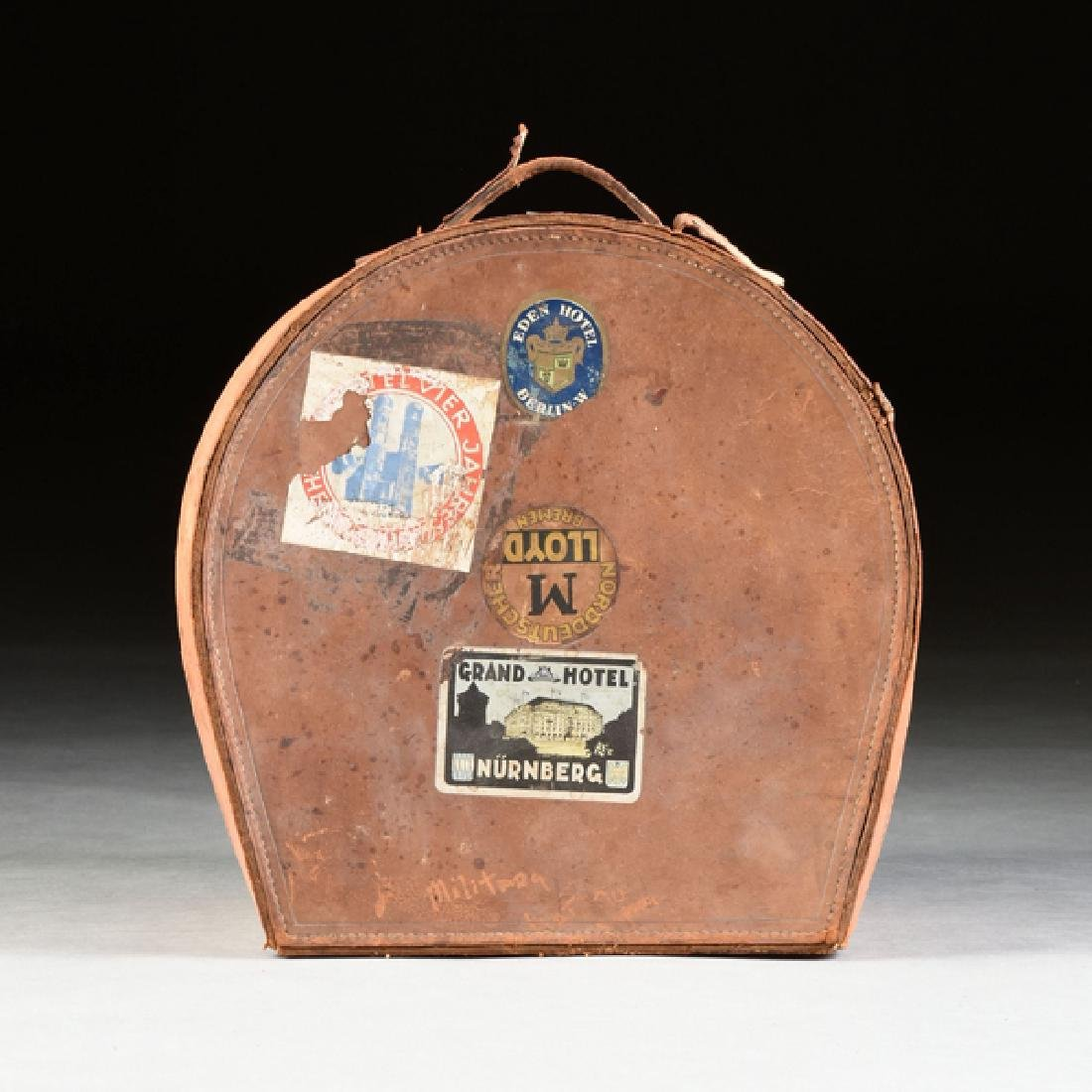 A GROUP OF TWO LEATHER TRAVELING HAT CASES, CIRCA - 3
