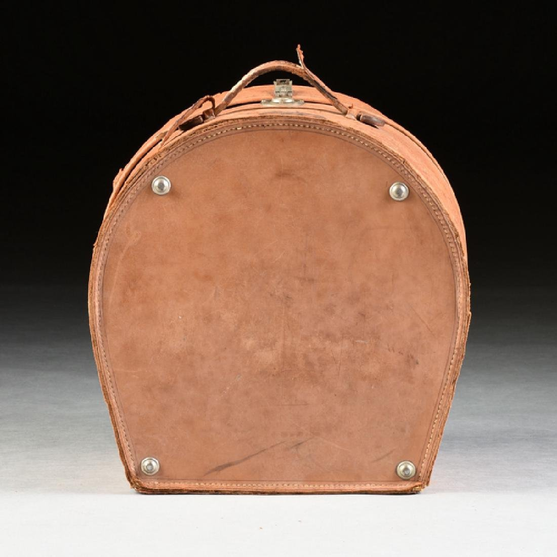 A GROUP OF TWO LEATHER TRAVELING HAT CASES, CIRCA - 5
