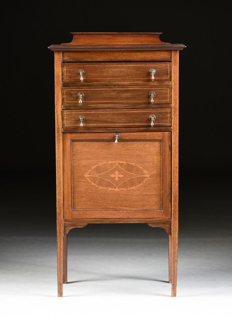 AN ENGLISH ARTS AND CRAFTS MARQUETRY INLAID MAHOGANY
