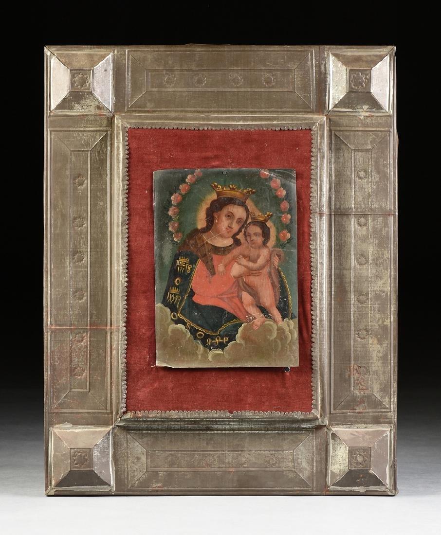 A RETABLO OF MARY AND JESUS, MEXICO, 19TH CENTURY,