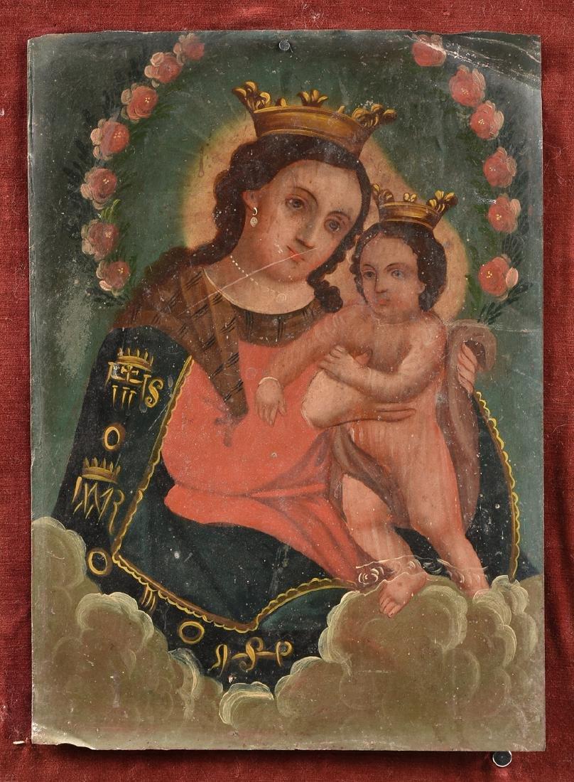 A RETABLO OF MARY AND JESUS, MEXICO, 19TH CENTURY, - 2