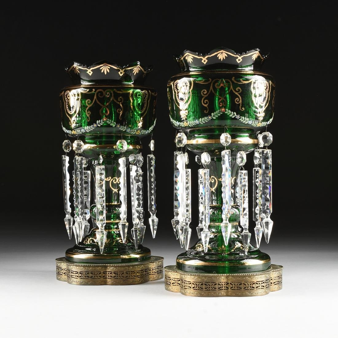 A PAIR OF BOHEMIAN GILT AND ENAMEL DECORATED GREEN
