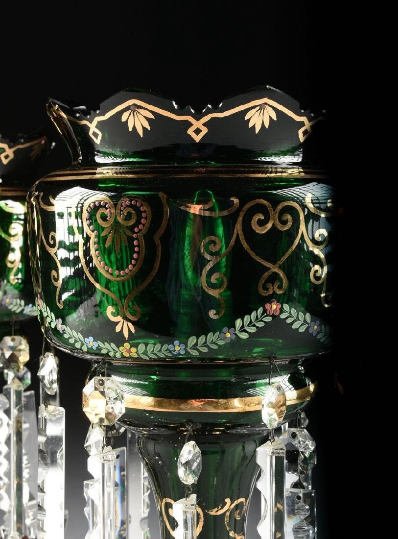 A PAIR OF BOHEMIAN GILT AND ENAMEL DECORATED GREEN - 2