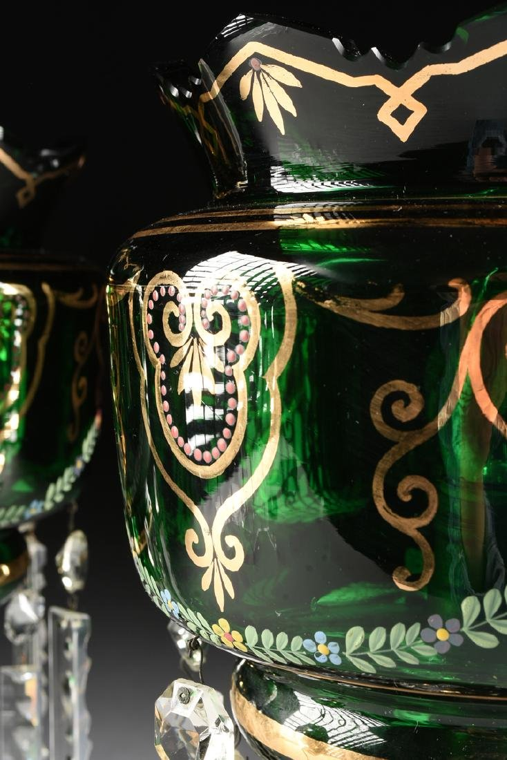 A PAIR OF BOHEMIAN GILT AND ENAMEL DECORATED GREEN - 6
