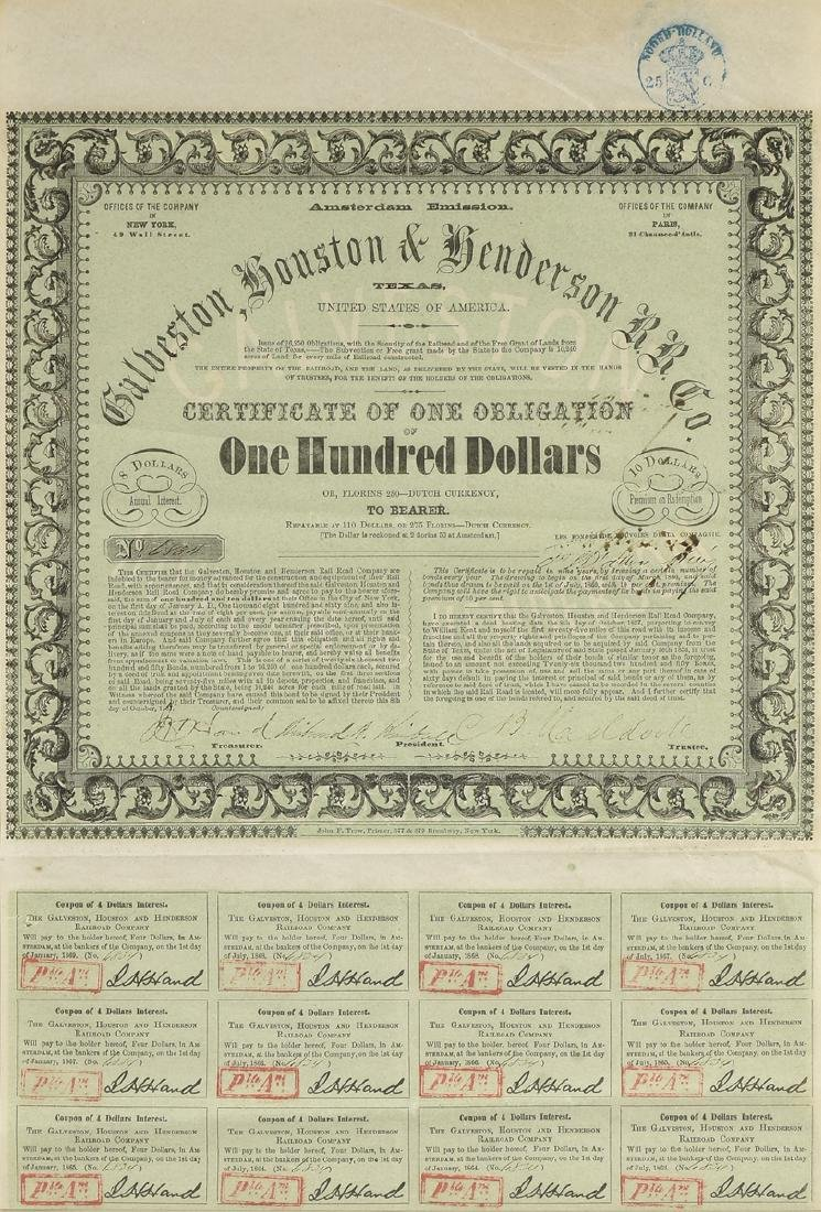 A GALVESTON, HOUSTON & HENDERSON RAILROAD CO. BOND FOR