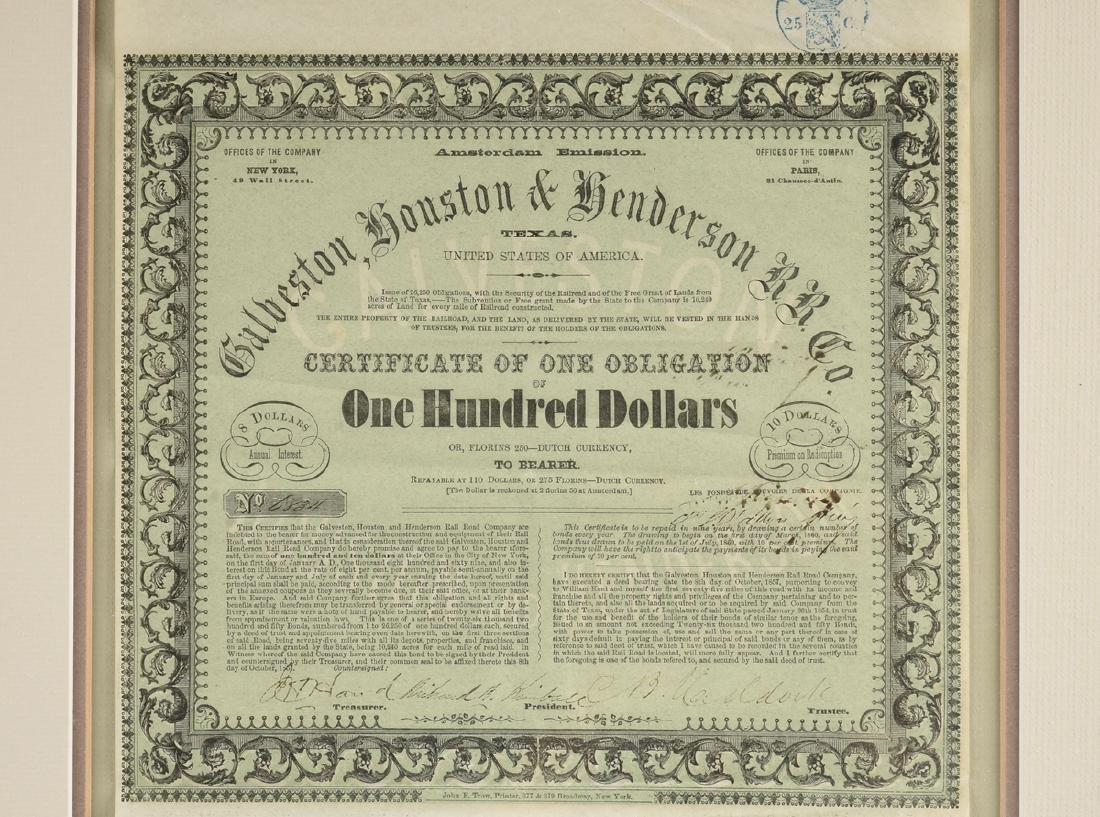 A GALVESTON, HOUSTON & HENDERSON RAILROAD CO. BOND FOR - 4