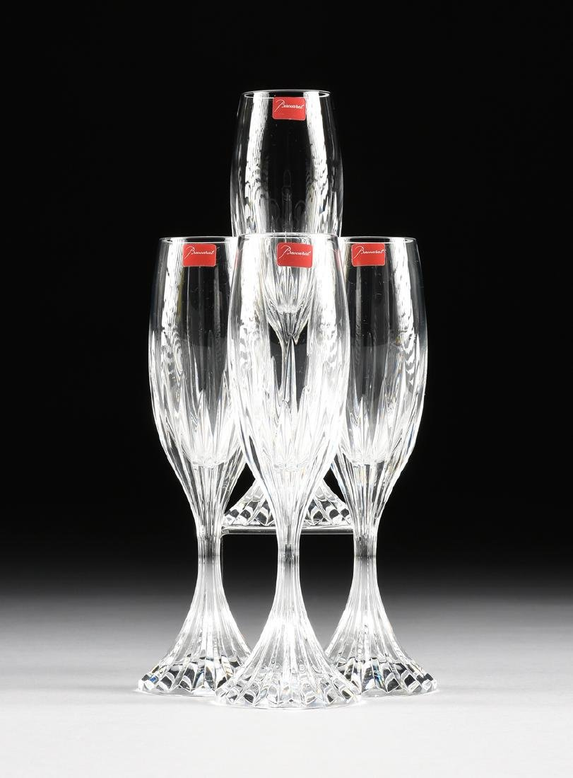 A SET OF FOUR CASED BACCARAT CUT CRYSTAL CHAMPAGNE