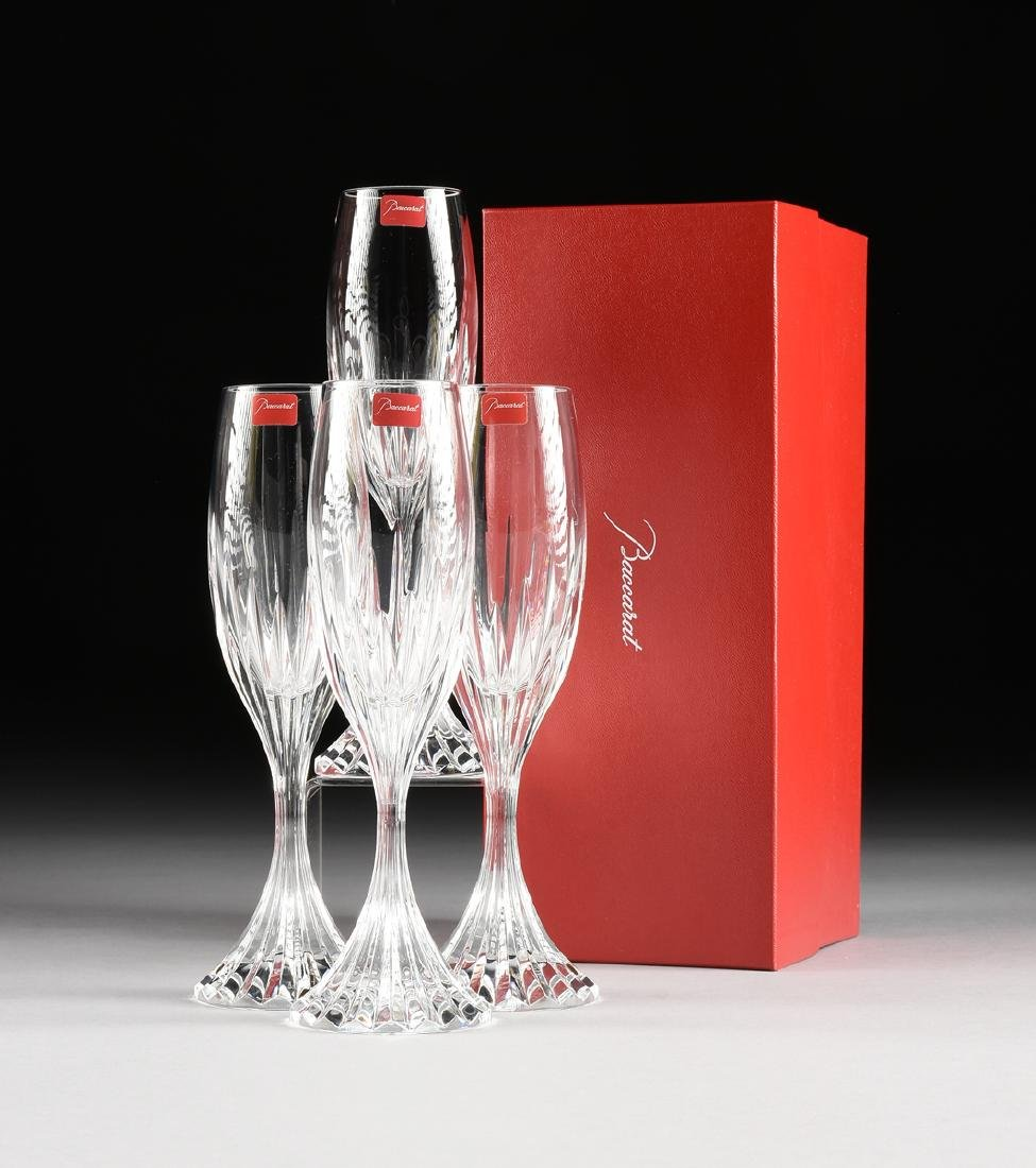 A SET OF FOUR CASED BACCARAT CUT CRYSTAL CHAMPAGNE - 2