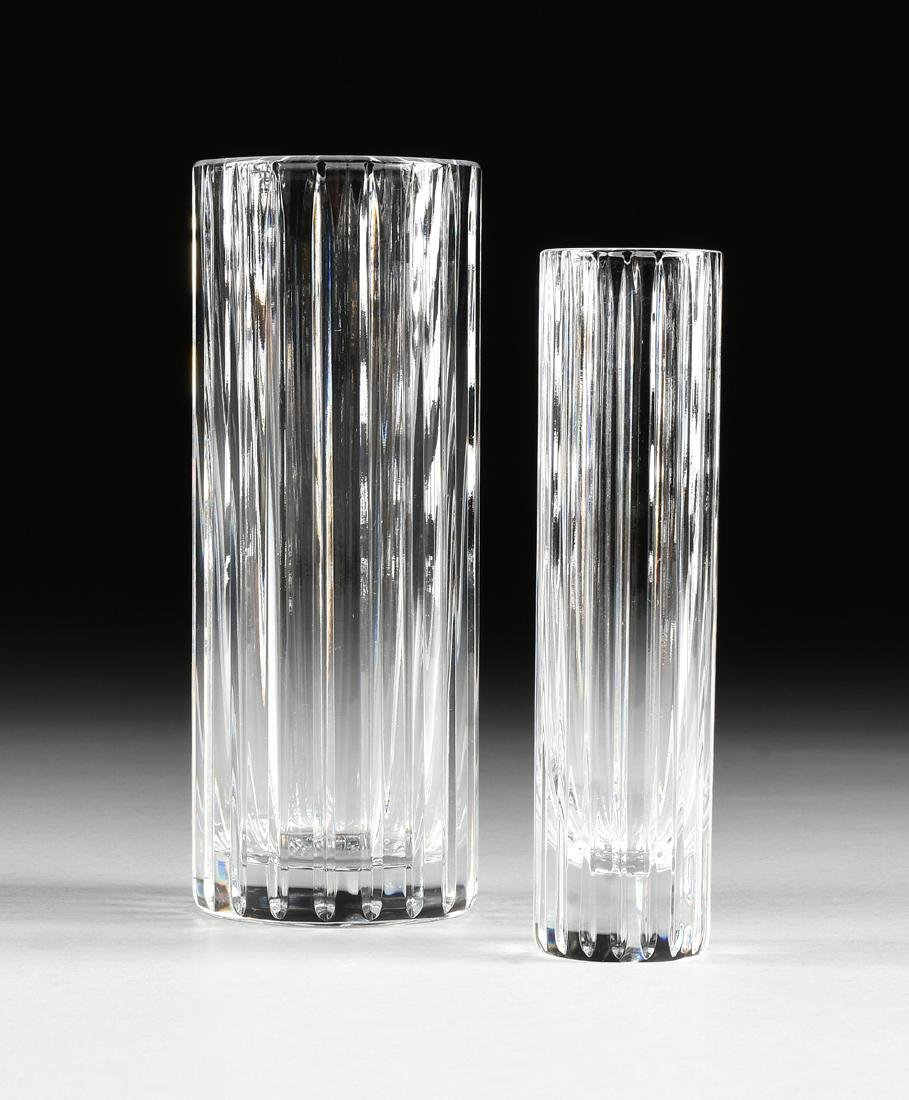 A GROUP OF TWO BACCARAT CUT CRYSTAL VASES IN THE