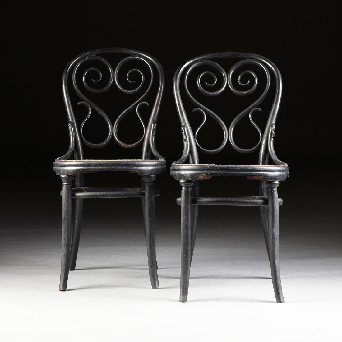A PAIR OF ART NOUVEAU GEBRUDER THONET EBONIZED BEECH
