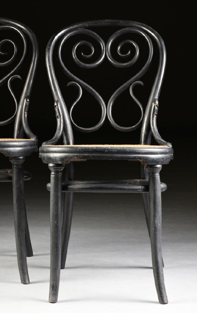 A PAIR OF ART NOUVEAU GEBRUDER THONET EBONIZED BEECH - 2