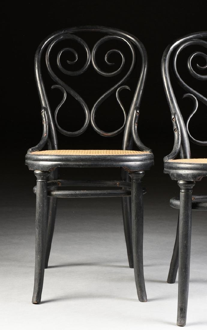 A PAIR OF ART NOUVEAU GEBRUDER THONET EBONIZED BEECH - 3