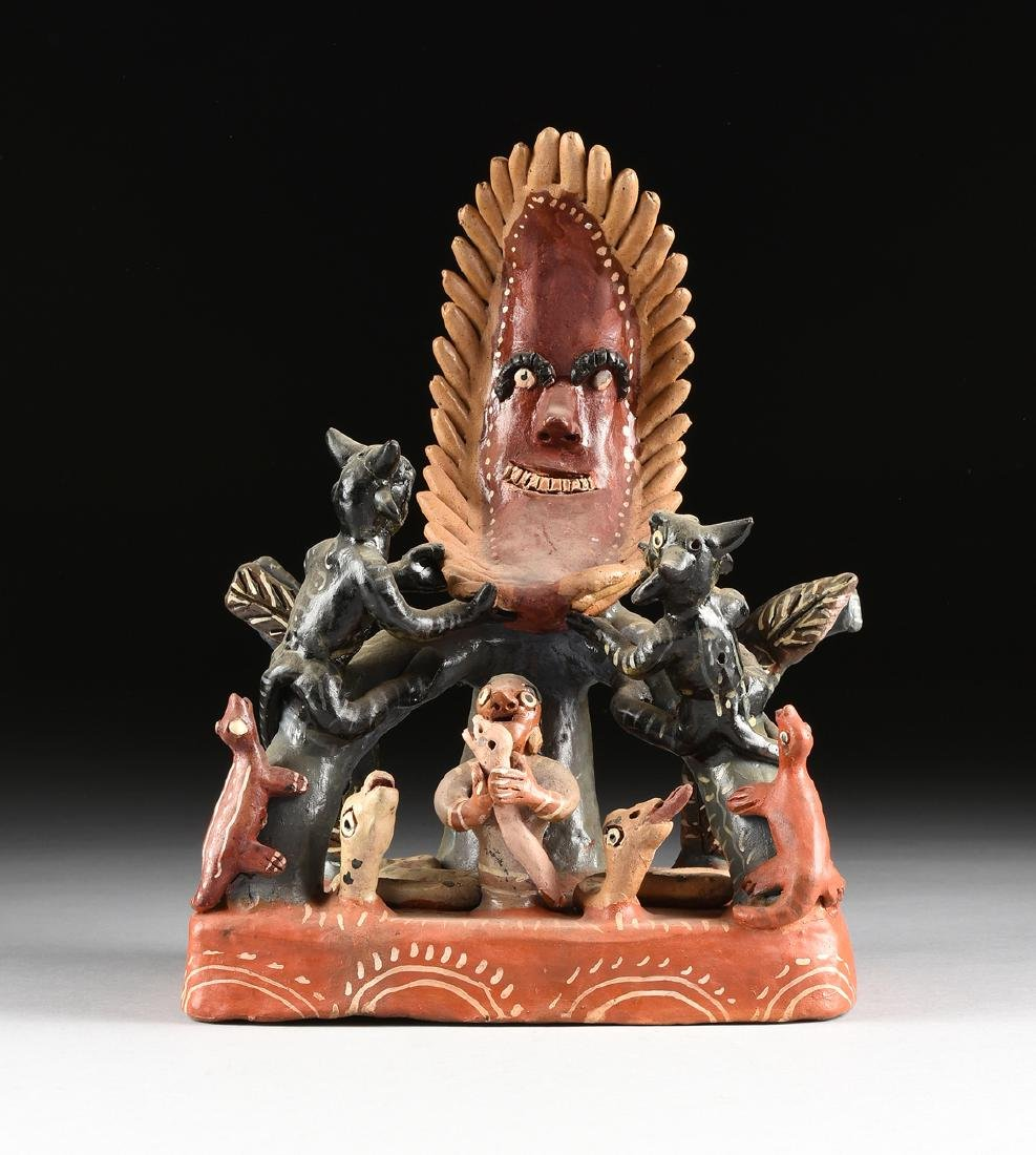 A MEXICAN GLAZED TERRA COTTA FOLK ART FIGURAL GROUP,