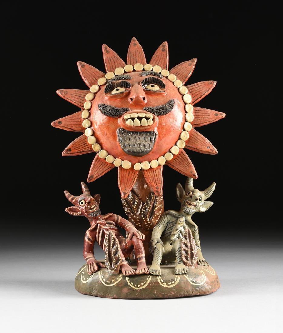 A MEXICAN GLAZED TERRA COTTA FIGURAL FOLK ART GROUP,