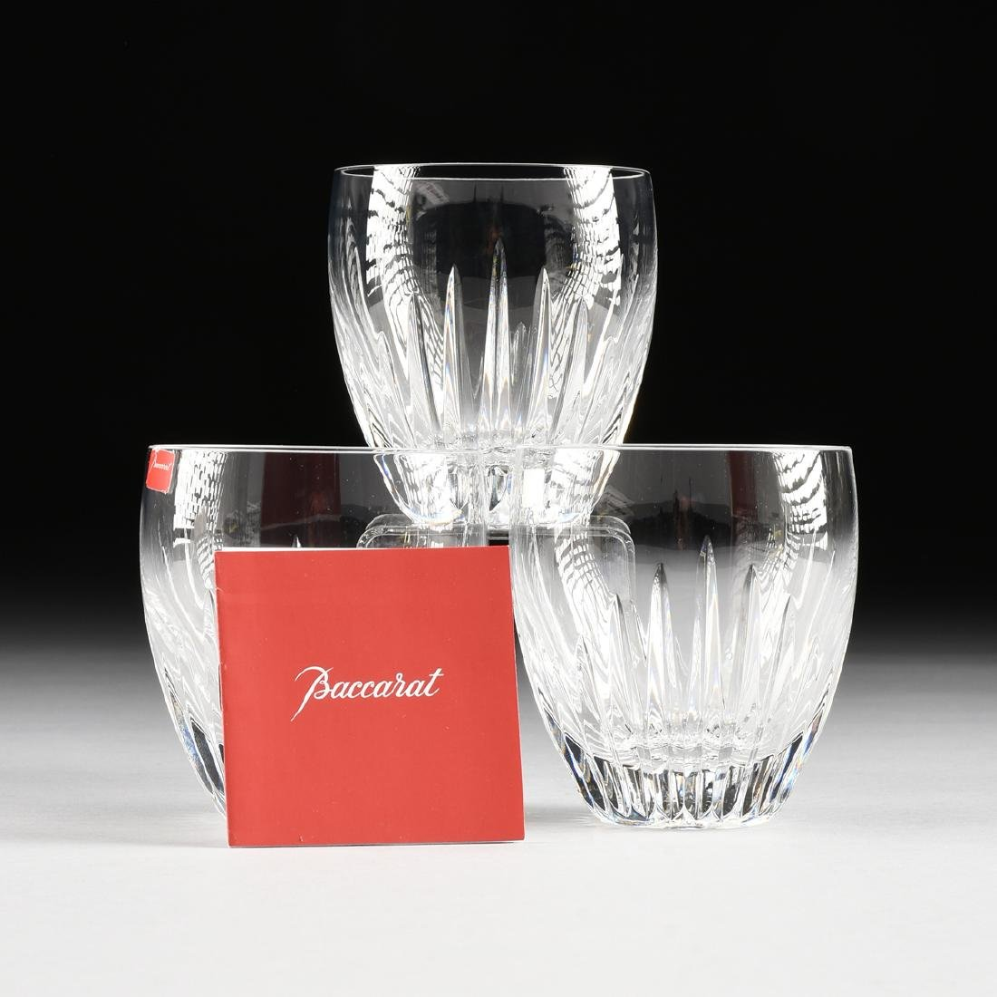 A SET OF THREE CASED BACCARAT CUT CRYSTAL FLAT TUMBLERS