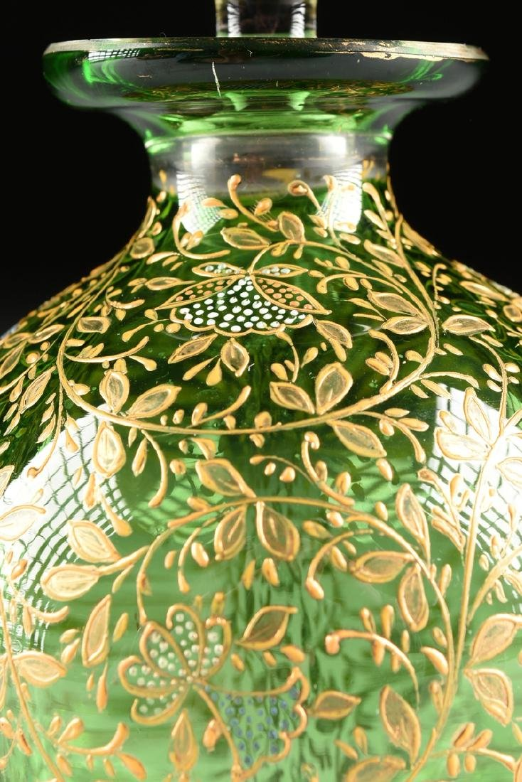 A GROUP OF FIVE CZECH GILT DECORATED GREEN GLASS ITEMS, - 7