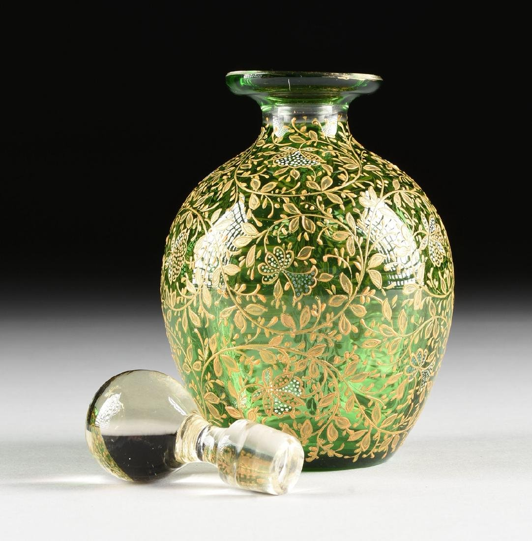 A GROUP OF FIVE CZECH GILT DECORATED GREEN GLASS ITEMS, - 9