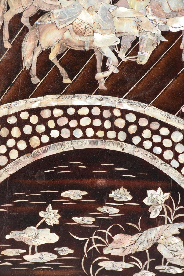 A VIETNAMESE FOUR PANEL MOTHER-OF-PEARL INLAID - 13