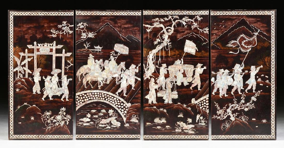 A VIETNAMESE FOUR PANEL MOTHER-OF-PEARL INLAID