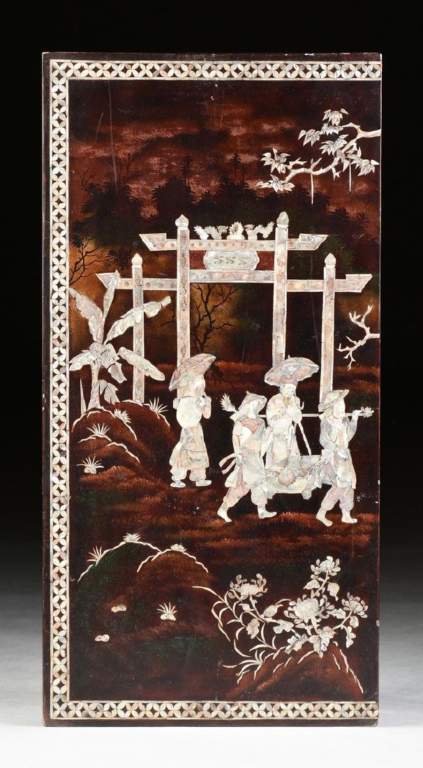 A VIETNAMESE FOUR PANEL MOTHER-OF-PEARL INLAID - 2