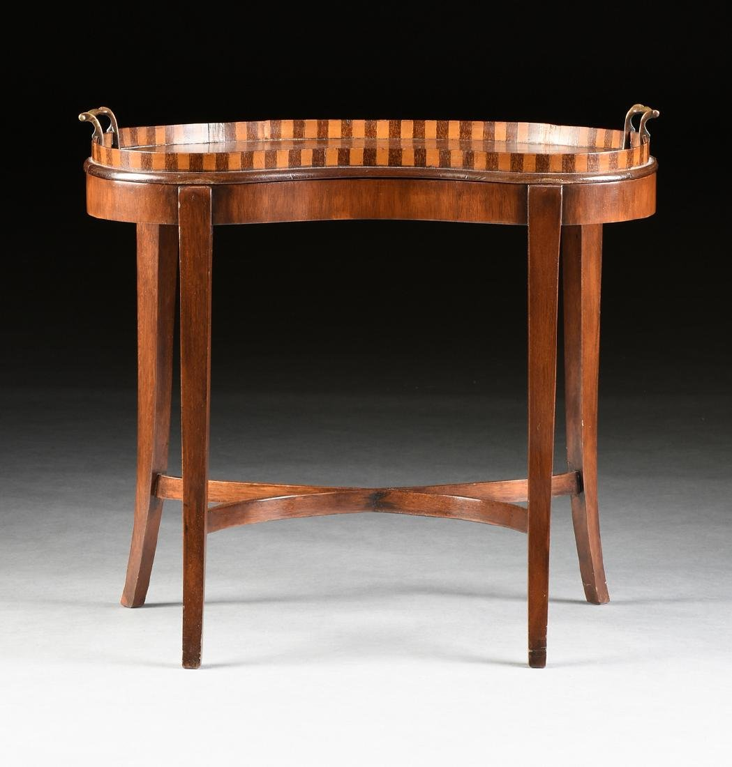 AN EDWARDIAN MARQUETRY INLAID MAHOGANY, BEECH, AND TEAK