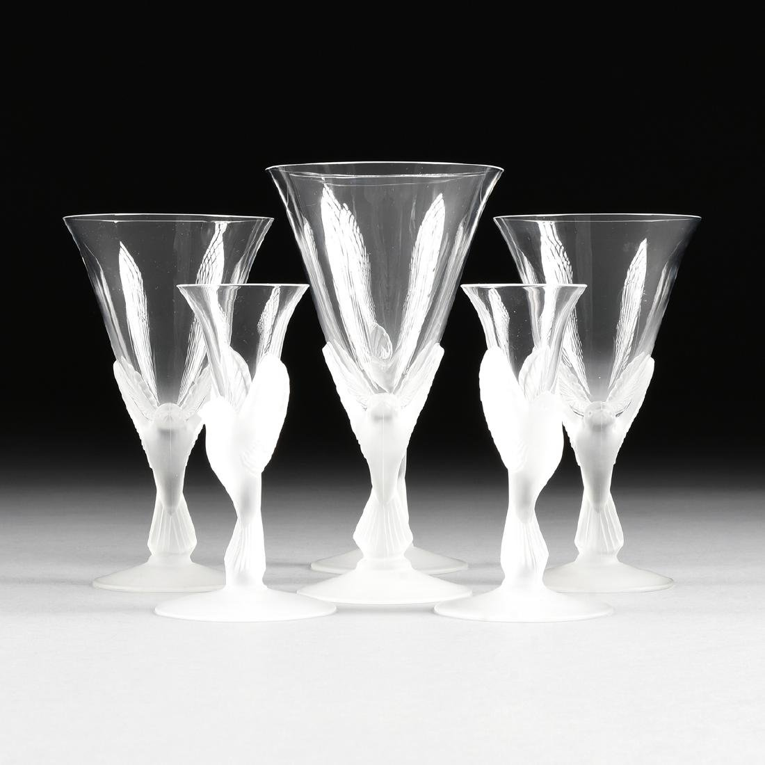 A GROUP OF SIX SASAKI CLEAR AND FROSTED CRYSTAL