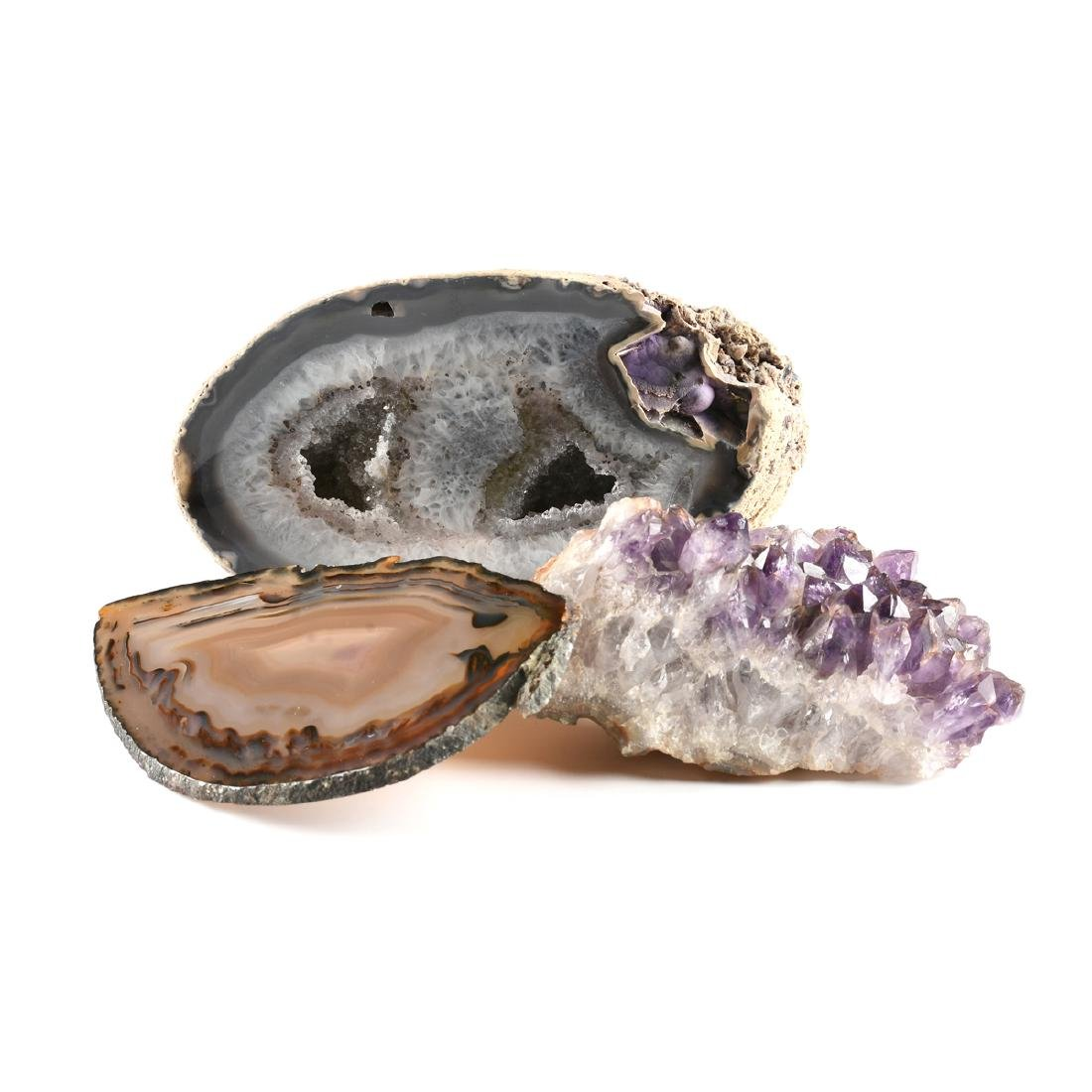 A GROUP OF THREE MINERALS,