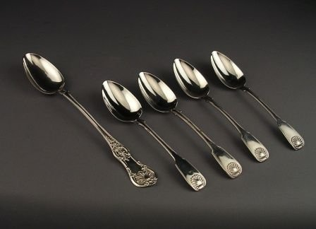 1: AN ANTIQUE SCOTTISH STERLING SILVER serving spoon by