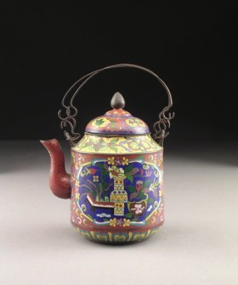 3: A CHINESE CLOISONNÉ TEAPOT, the cylindrical form sid