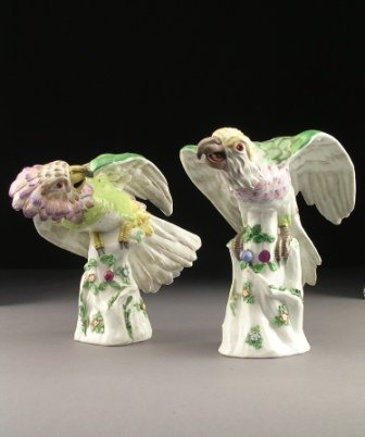 23: A PAIR OF19th CENTURY FRENCH POLYCHROMED PORCELAIN