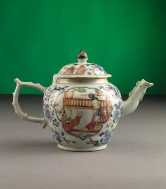 113: A CHINESE FAMILLE ROSE TEAPOT of  ovoid form with