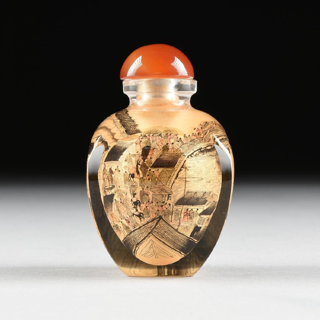 A CASED CHINESE EXPORT REVERSE PAINTED SNUFF BOTTLE,
