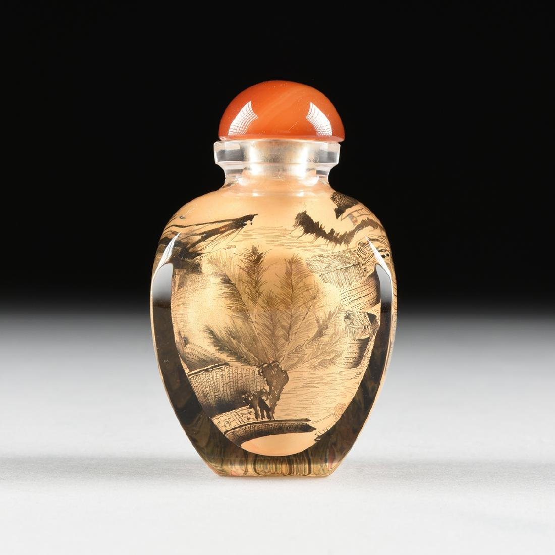 A CASED CHINESE EXPORT REVERSE PAINTED SNUFF BOTTLE, - 3