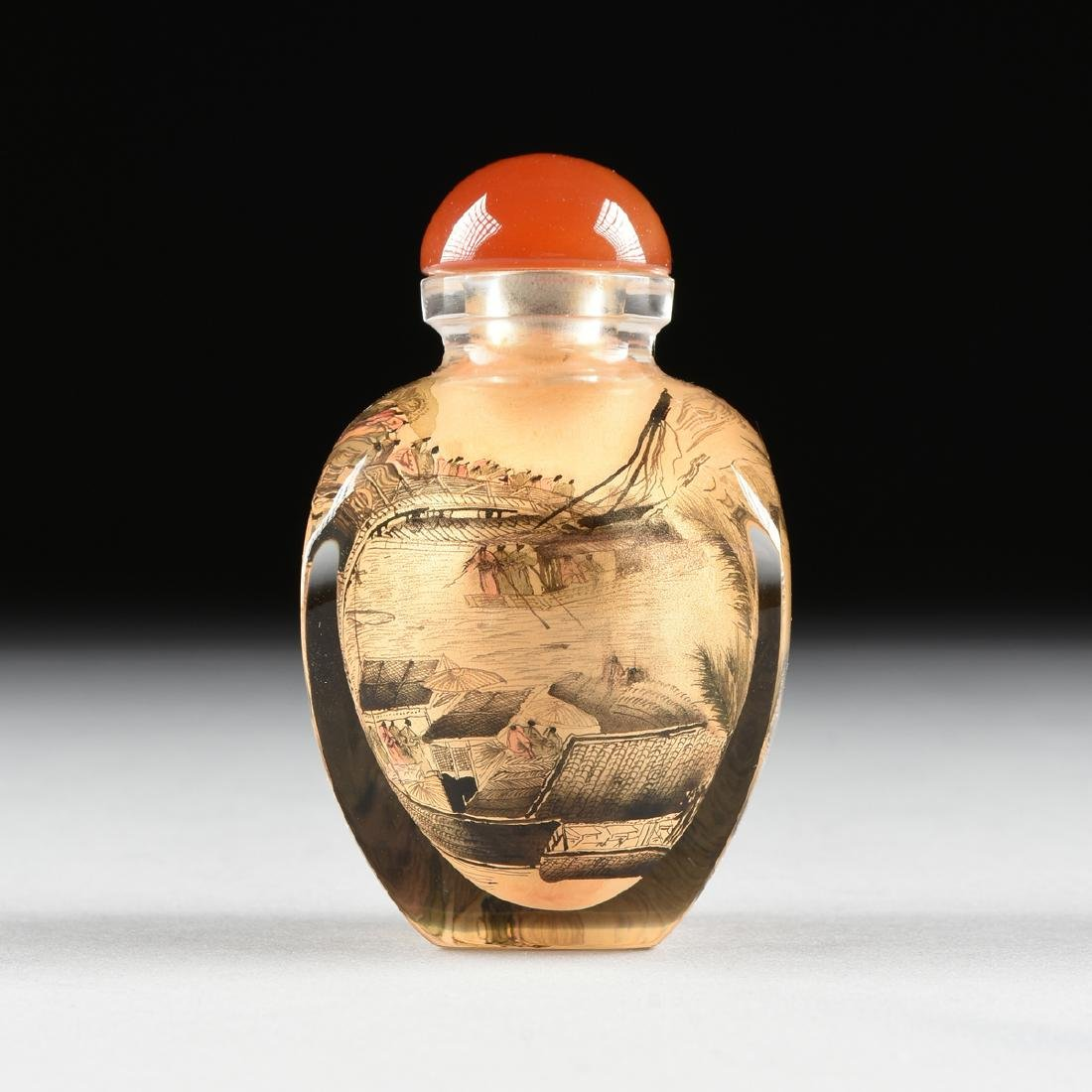 A CASED CHINESE EXPORT REVERSE PAINTED SNUFF BOTTLE, - 4